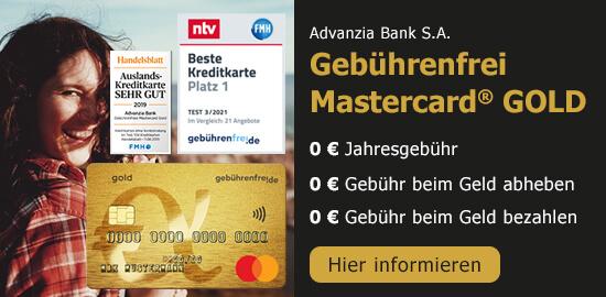 Kostenlose Mastercard® - Gebührenfrei Gold
