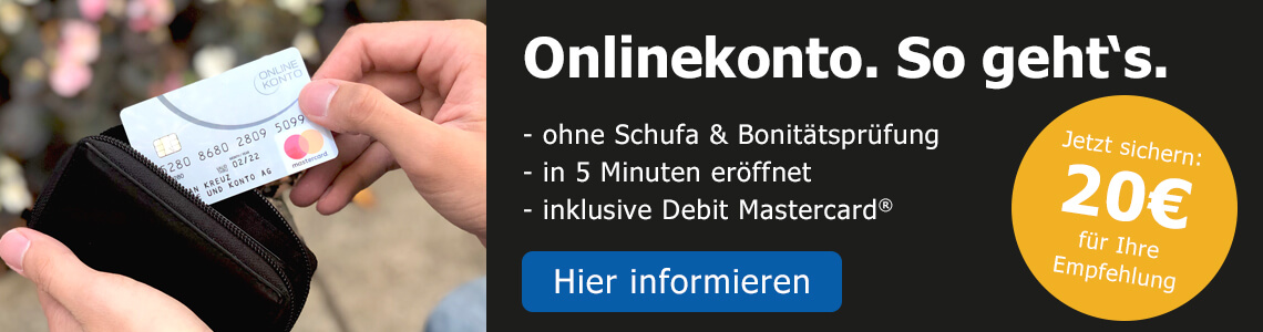 Onlinekonto - Konto ohne Schufa